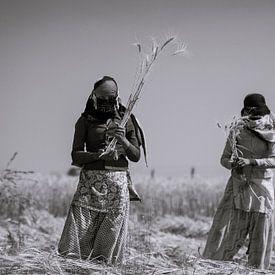 Vrouwelijke werkers in Rajasthan van Koen Hoekemeijer