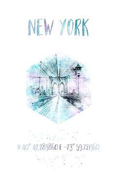 Coordonne l'aquarelle du pont de Brooklyn à New York sur Melanie Viola