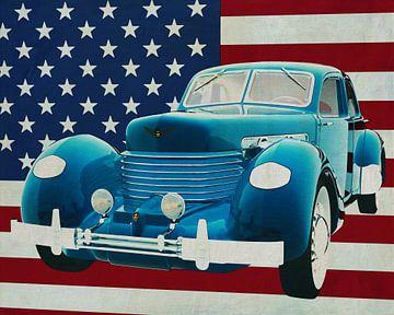 Cord 812 Sedan 1936 met vlag van de V.S.