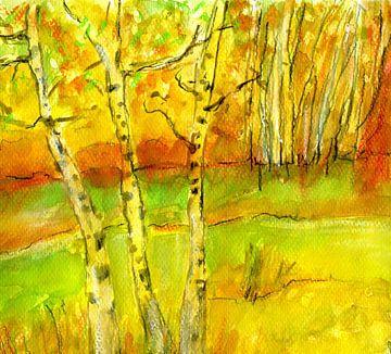 Birken in der Sonne von Claudia Gründler