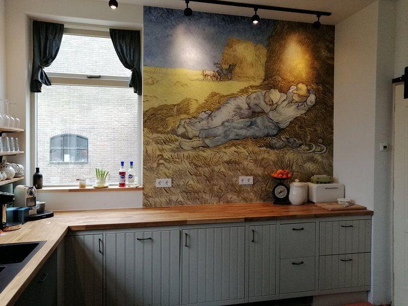 Klantfoto: Vincent van Gogh. Rustende boeren, op naadloos behang