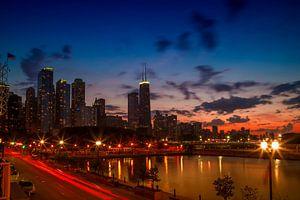 CHICAGO Zonsondergang van