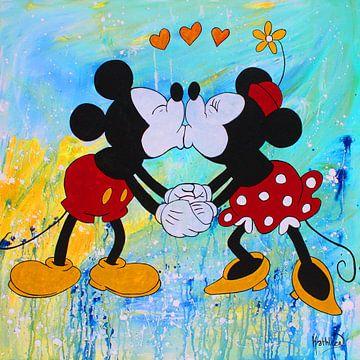 Mickey en Minnie Mouse van Kathleen Artist Fine Art