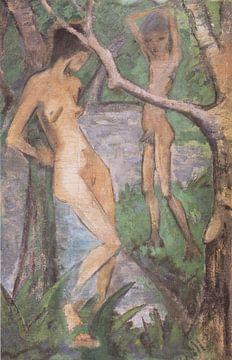 Mädchen und Knabe am Waldteich, Otto Mueller - ca1922