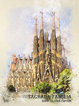 Sagrada Familia van Printed Artings