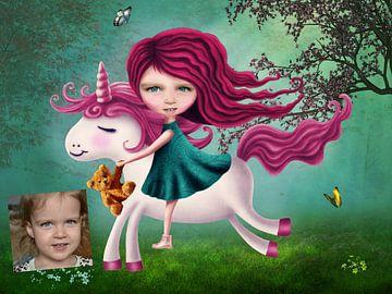 Meisje op Unicorn - Persoonlijk werk, mail je foto! van Anouk Muller - Funqy Wall Art