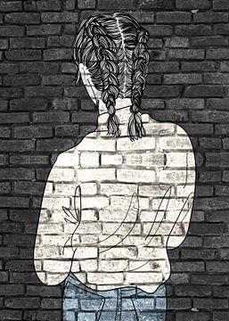Teenager Graffiti auf schwarzer Mauer von KalliDesignShop