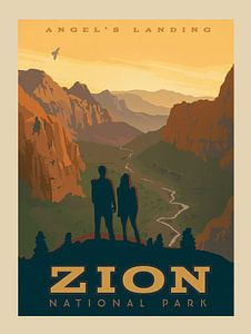 Oude poster van Zion National Park