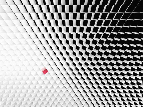 Perspectief van zwart wit kubussen met een rode kubus