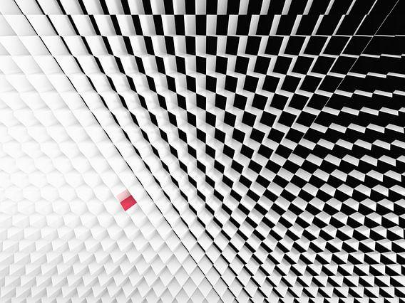 Perspectief van zwart wit kubussen met een rode kubus  van Jan Brons