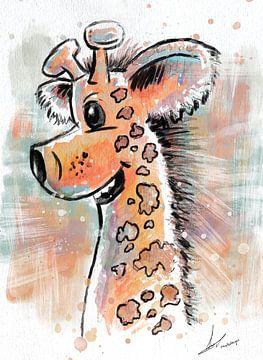 vrolijke illustratie van een giraffe - leuke kinderkamer print van Emiel de Lange