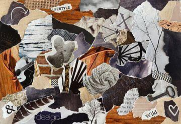 Natuur collage gemaakt van oude papier snippers van Trinet Uzun