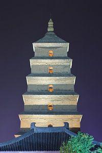 Verlichte oude boeddhistische pagode in de nacht, Xian, China