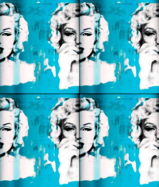 Marilyn Monroe light blue Collage  van Felix von Altersheim