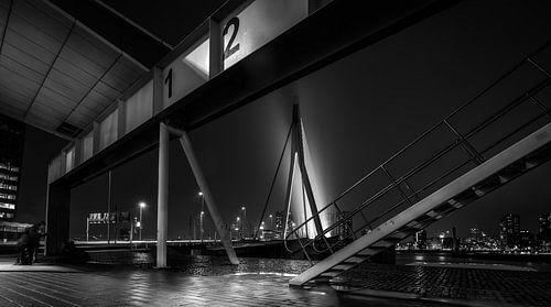 Rotterdam in de nacht - Crossing Lines (zwart-wit) van