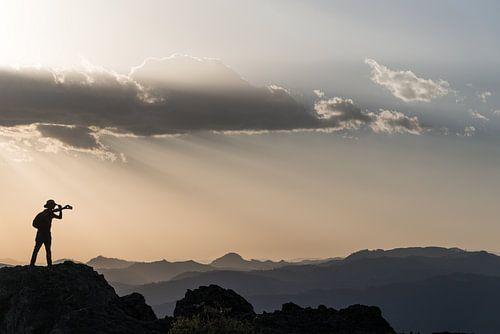Selfie tijdens zonsondergang in de bergen van Oost-Afrika | Ethiopië