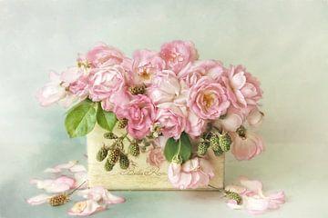 Bloem romantisch - rozen roze van Lizzy Pe