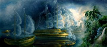 Spookschepen voor een tropisch eiland van Atelier Liesjes