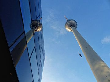 Berlin Alexanderplatz, Fernsehturm gespiegelt, TV-Tower van Ralf Schroeer