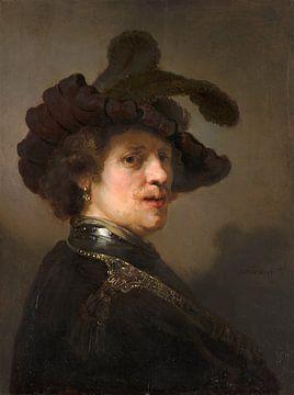 Studie eines Mannes mit gefiedertem Barett, Rembrandt