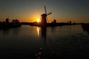 Molens Kinderdijk bij zonsondergang