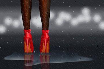 Staande in de regen van