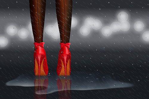 Staande in de regen