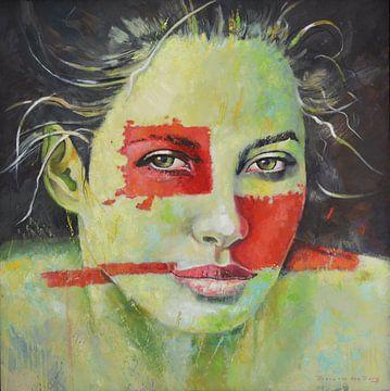 Groen dame met rode vlakken van VDB schildersatelier