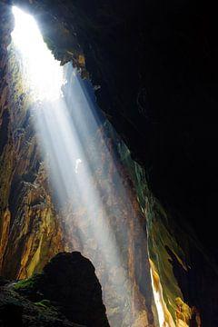 Lichtinval in een grot, Batu Caves van Andrew Chang