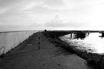 Zuiderpier in zwart/wit, Harlingen
