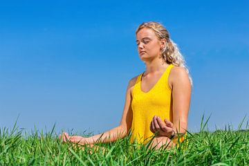 Junge Frau meditiert in der grünen Wiese mit blauem Himmel von Ben Schonewille