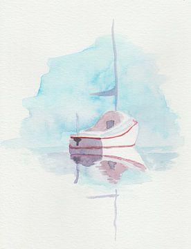 Leichte Aquarellierung/Malerei eines kleinen Bootes von Yvette Stevens