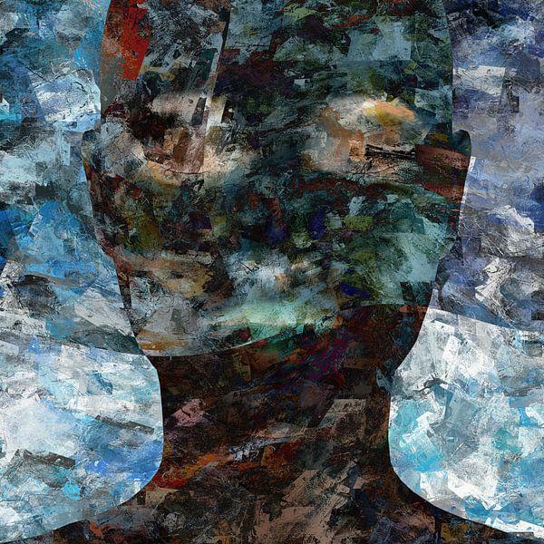 Abstract grunge portret vrouw van Maurice Dawson