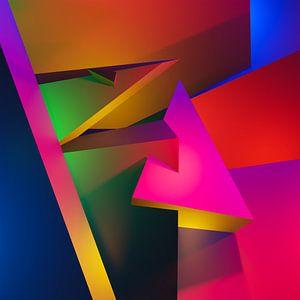 Abstrakte Komposition mit kubistischer Pyramide und 3d-Blöcken