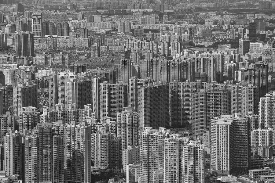 Shanghai skyline madness van Michèle Huge