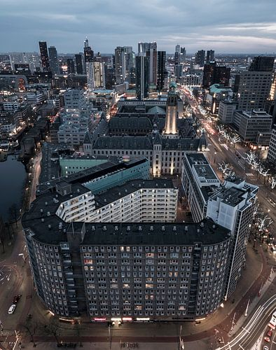 Coolsingel Rotterdam at nightfall
