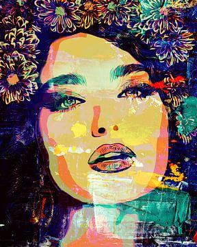 Mooi gypsy dames gezicht in een popart stijl van The Art Kroep