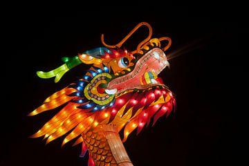 Kop van een oranje chinese draak van Maurice de vries