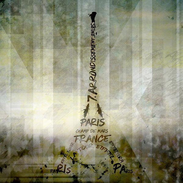 Digital-Art PARIS Eiffel Tower | Geometric Mix No.1 van Melanie Viola