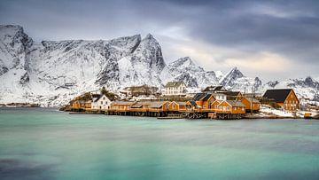 Winter op Sakrisøy, Lofoten, Noorwegen van Adelheid Smitt