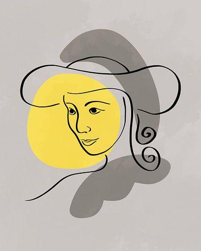 Vrouw met hoed lijn-tekening met drie organische vormen in geel en grijs
