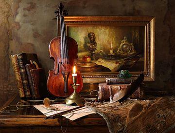 Stilleven met viool en het schilderen, Andrey Morozov van 1x