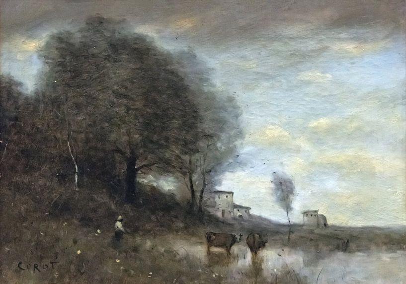Landschaft, Jean-Baptiste Camille Corot von Meesterlijcke Meesters