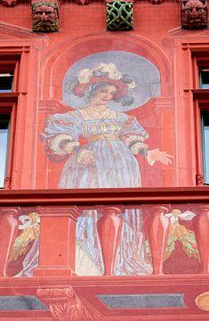 Fresko einer Frau im Rathaus von Basel in der Schweiz von Joost Adriaanse