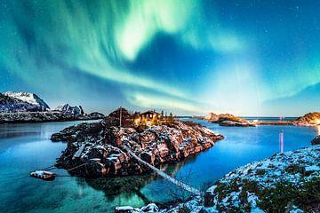 Noorderlicht boven het eiland Senja, Noorwegen van Sascha Kilmer