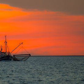Zonsondergang Waddenzee van Tom Smit