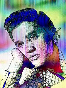 Elvis Presley Abstrakte Strichzeichnung Portrait in Rosa Blau Grün