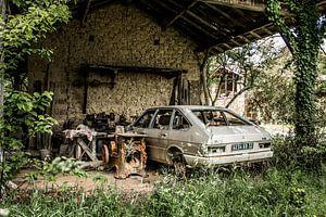 Auto bij de garage