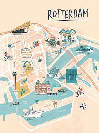 Rotterdam geïllustreerde plattegrond van Karin van der Vegt