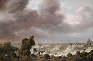Schiffe in Seenot an einer Felsenküste, Simon de Vlieger